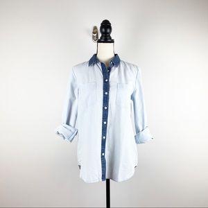 NWOT Ann Taylor LOFT Denim Button Down Shirt